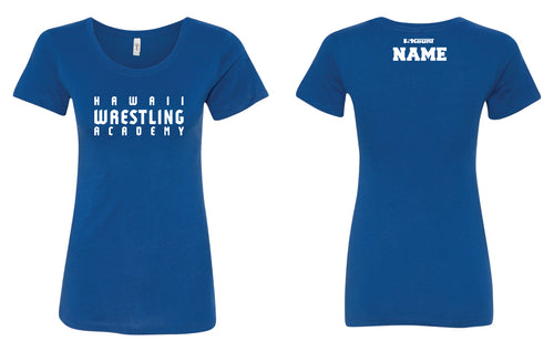 Hawaii Wrestling Academy Women Cotton Crew Tee - Red/Royal