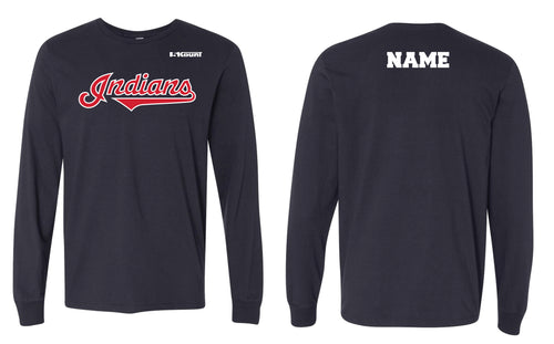 Indians Baseball Cotton Crew Long Sleeve Tee - Navy - 5KounT2018
