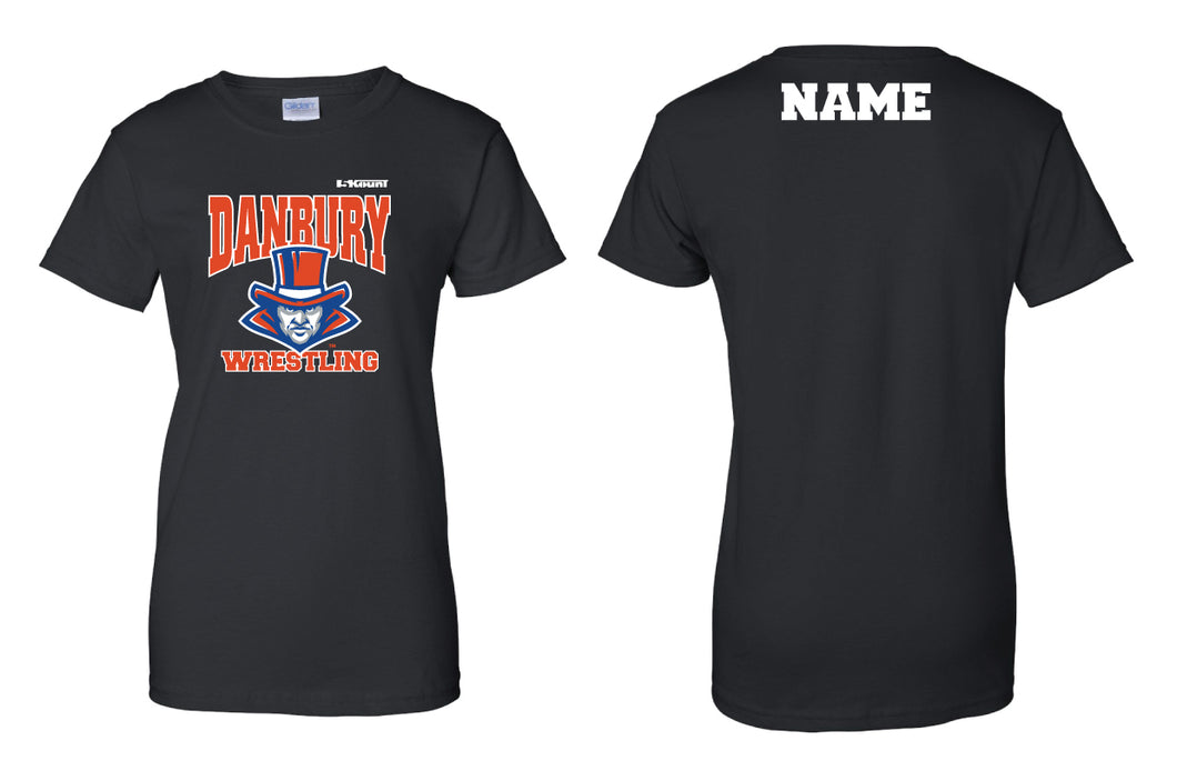 Danbury HS Wrestling Cotton Women's Crew Tee - Black - 5KounT2018