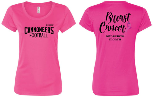Cannoneers Football DryFit Women's Breast Cancer Awareness Cotton Crew Tee - Pink - 5KounT2018