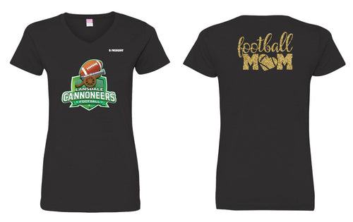 Cannoneers Football Mom Cotton Glitter Women's Crew Tee - Black - 5KounT2018