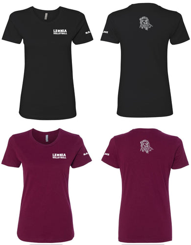 Leonia Lady Lions Volleyball - Cotton Crew Tee - 5KounT