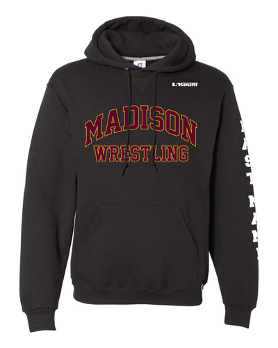 Madison Wrestling Russell Athletic Cotton Hoodie - Black / Gray - 5KounT2018