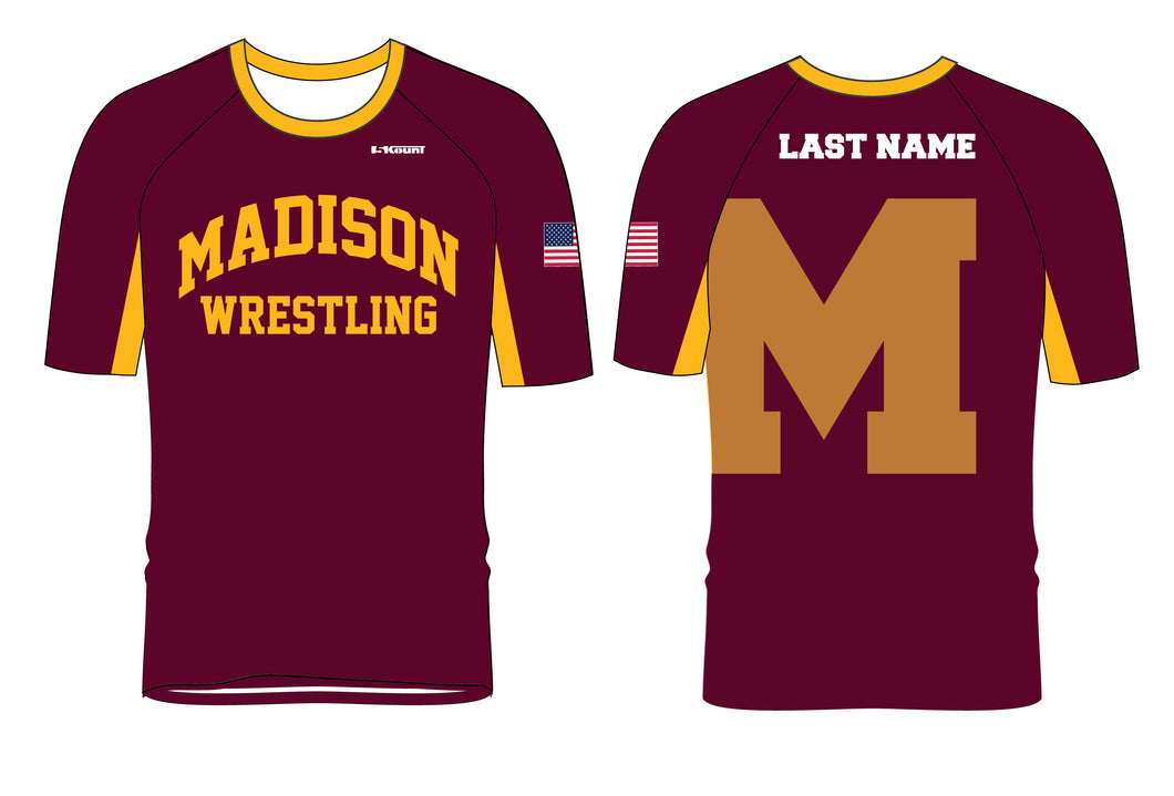 Madison Wrestling Sublimated Fight Shirt - Maroon