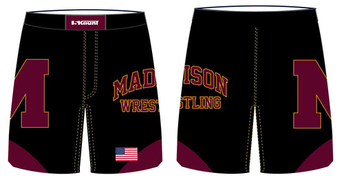 Madison Wrestling Sublimated Fight Shorts - Black - 5KounT2018