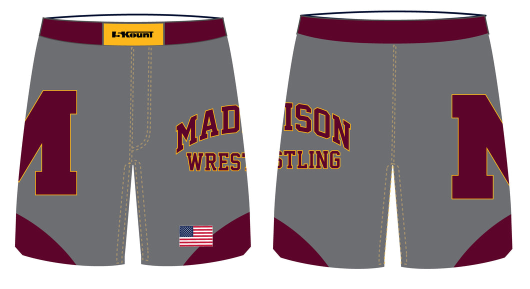 Madison Wrestling Sublimated Fight Shorts - Gray - 5KounT2018