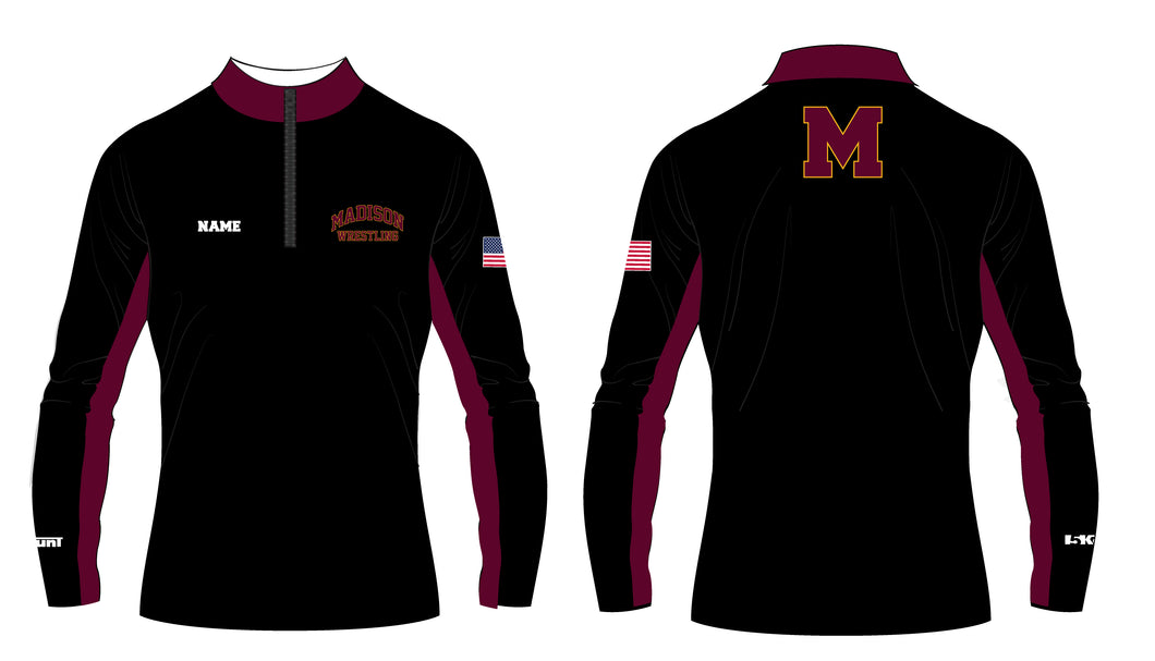 Madison Wrestling Sublimated Quarter Zip - Black