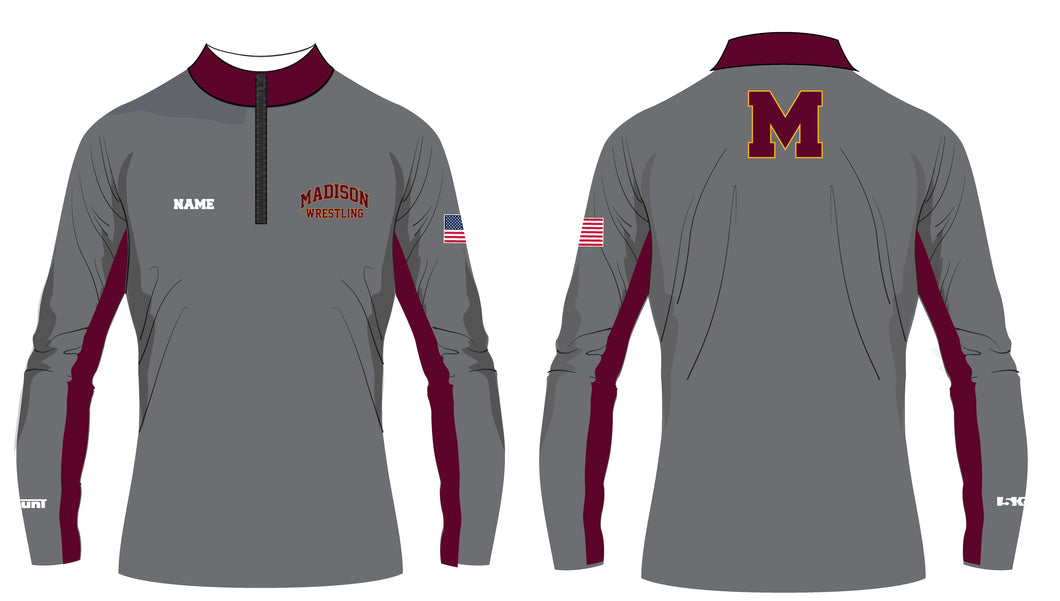 Madison Wrestling Sublimated Quarter Zip - Gray