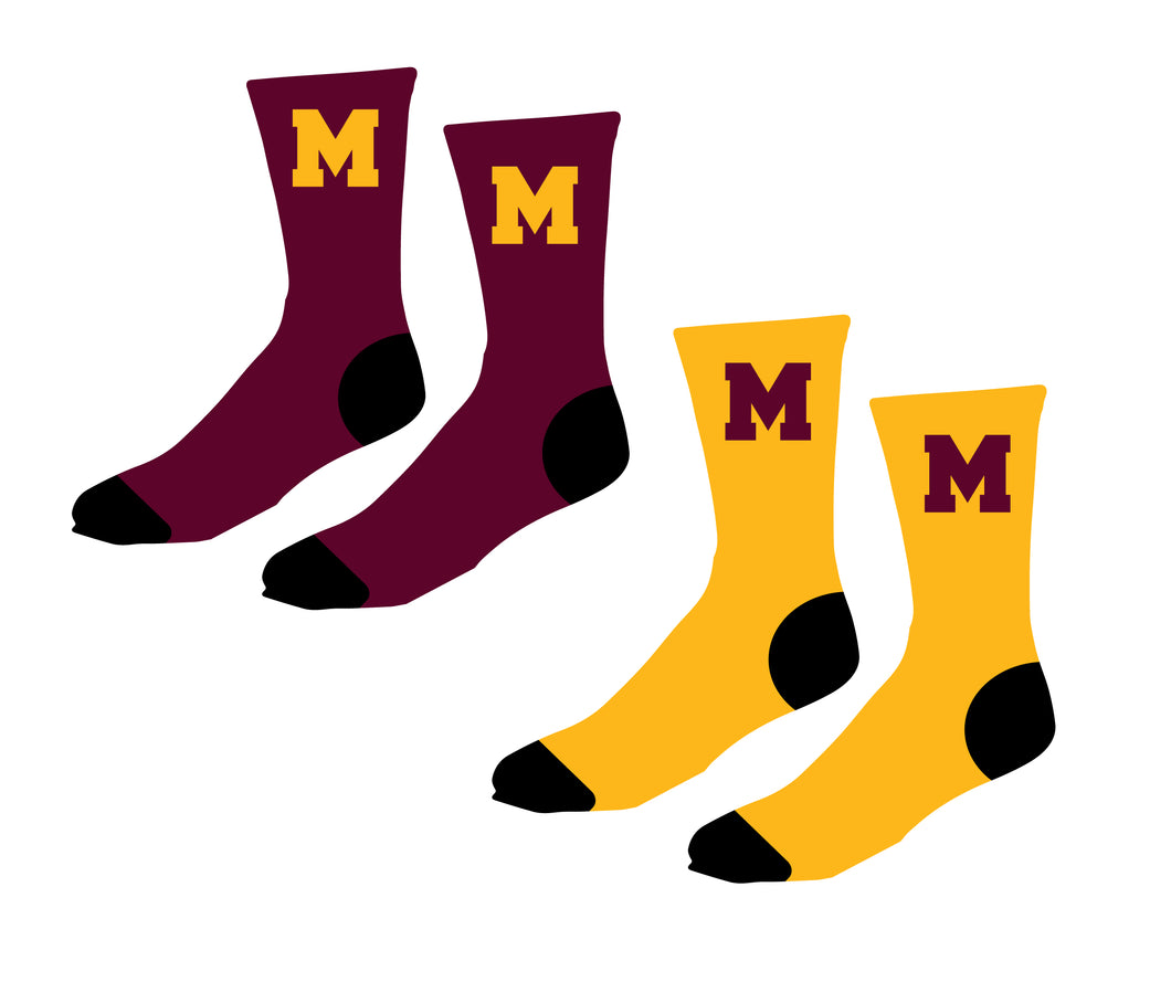Madison Wrestling Sublimated Socks - Maroon / Gold
