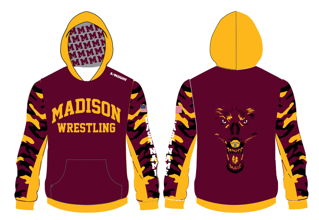 Madison Wrestling Sublimated Hoodie - Maroon