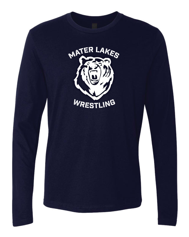 Mater Lakes Wrestling Long Sleeve Cotton Crew - Navy - 5KounT