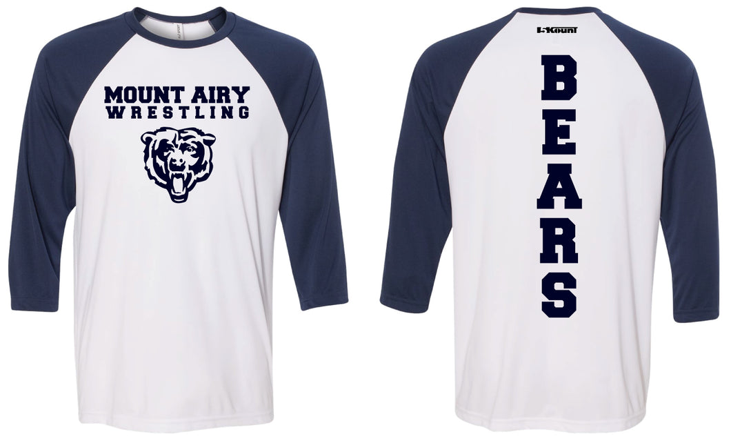 Mount Airy Middle School Baseball Shirt - White/Blue