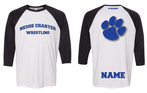 Neuse Wrestling Baseball Shirt - Black White