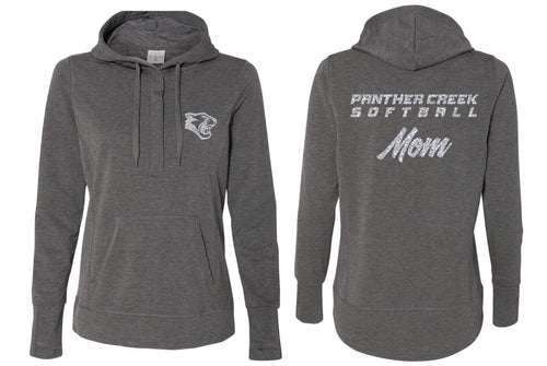 Panther Creek Softball Terry Snap Placket Hooded Pullover - Charcoal Heather