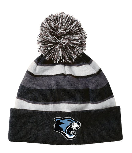 Panther Creek Softball Pom Beanie - Black/Grey/White