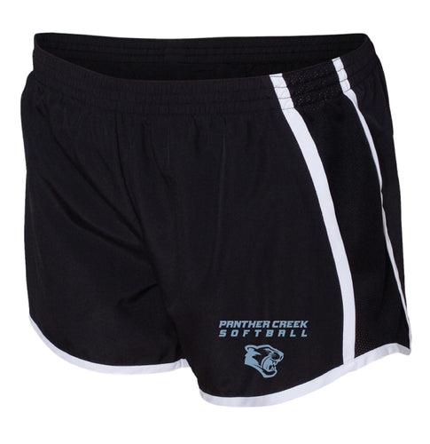 Panther Creek Softball Ladies Running Shorts - Black
