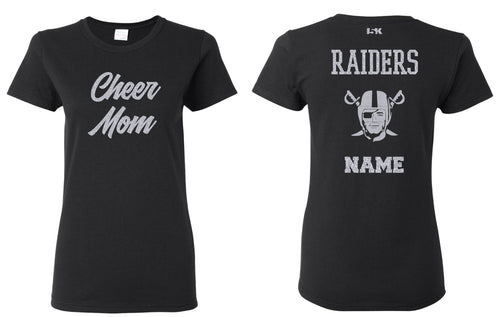 Raiders Cheer MOM Glitter Cotton Crew Tee - Black - 5KounT