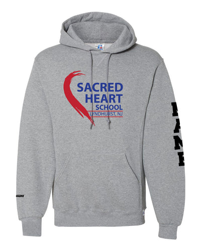Sacred Heart Russell Athletic Cotton Hoodie - Gray / Red - 5KounT2018
