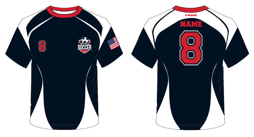 Secaucus Soccer Sublimated Fan Jersey Red/Navy - 5KounT2018
