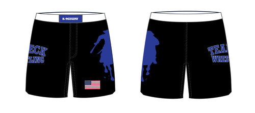 Teaneck Wrestling Sublimated Fight Shorts - Black / Royal - 5KounT2018