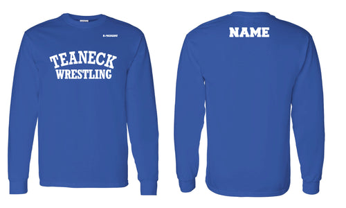 Teaneck Wrestling Cotton Crew Long Sleeve Tee - Royal - 5KounT2018