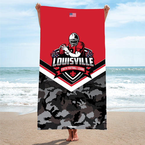 Louisville Youth Football League Sublimated Beach Towel - 5KounT2018