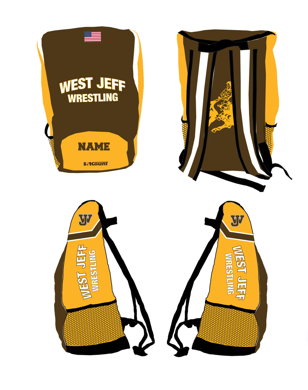 West Jefferson Wrestling Sublimated Backpack