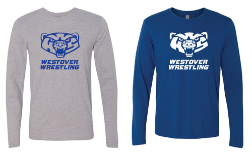 Westover Wrestling Long Sleeve Cotton Crew - Heather Grey or Royal Blue - 5KounT2018