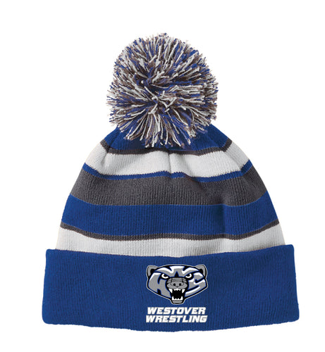 Westover Wrestling Pom Beanie - Royal/Grey/White - 5KounT2018