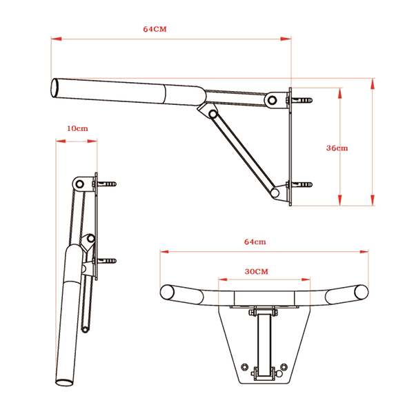 Folding Heavy Duty Wall Mount Dip Bar - DirectHomeGym