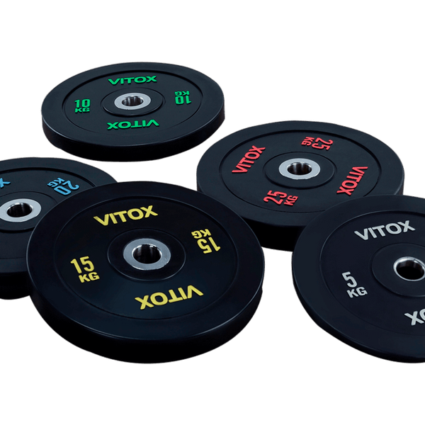 Black Bumper Plates with Colored Word Markings (5KG  to 25KG) - DirectHomeGym