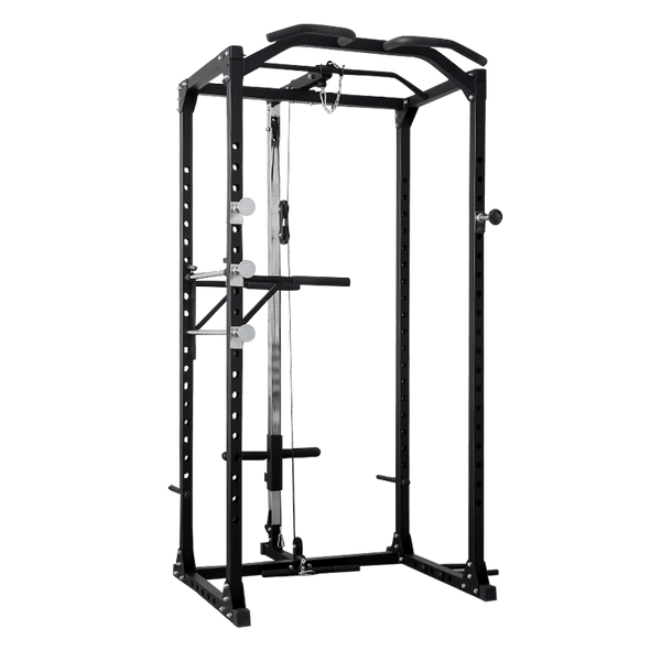 Full Power Rack with Lats Cable Machine and Attachments - DirectHomeGym