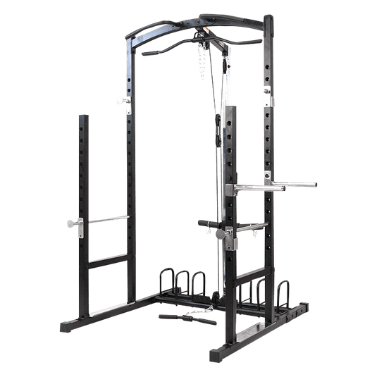 Power Rack with Plates Storage Dip Bars and Cable Machine