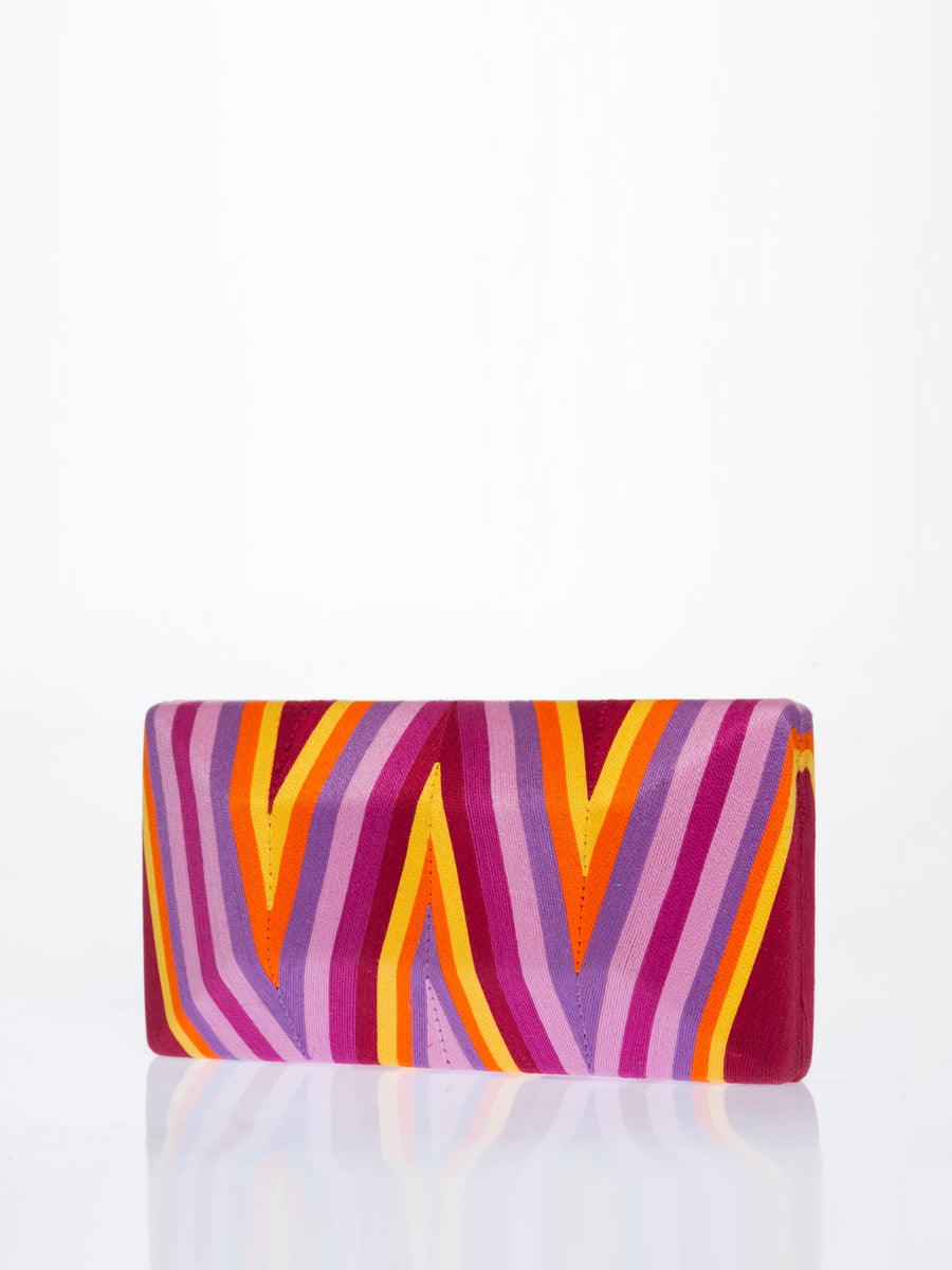 Releve Fashion Beatriz Purple Yellow Orange Chevron Cheska Clutch Bag Ethical Designers Sustainable Fashion Brands Artisanal Handmade Accessories Purchase with Purpose Shop for Good