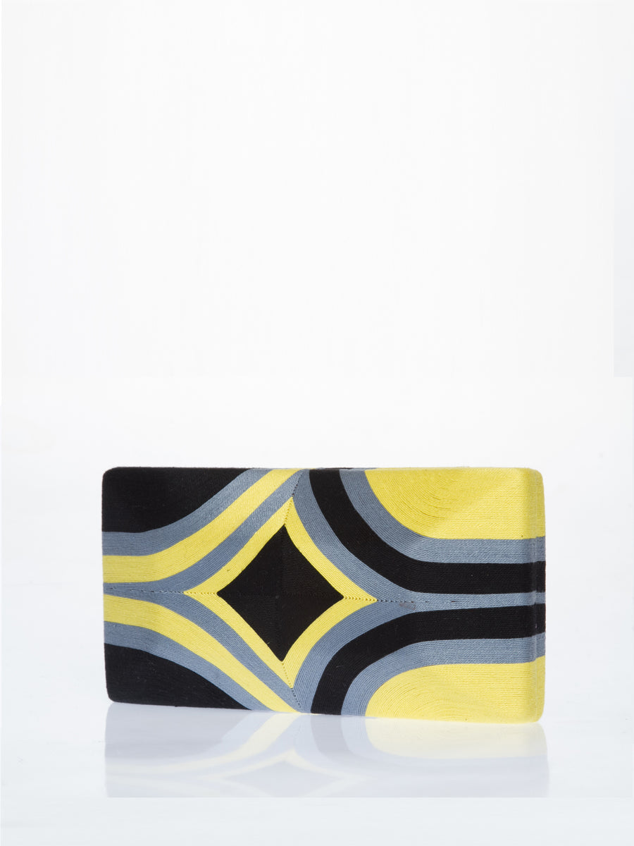 Cheska Diamond Clutch, Yellow / Black / Grey