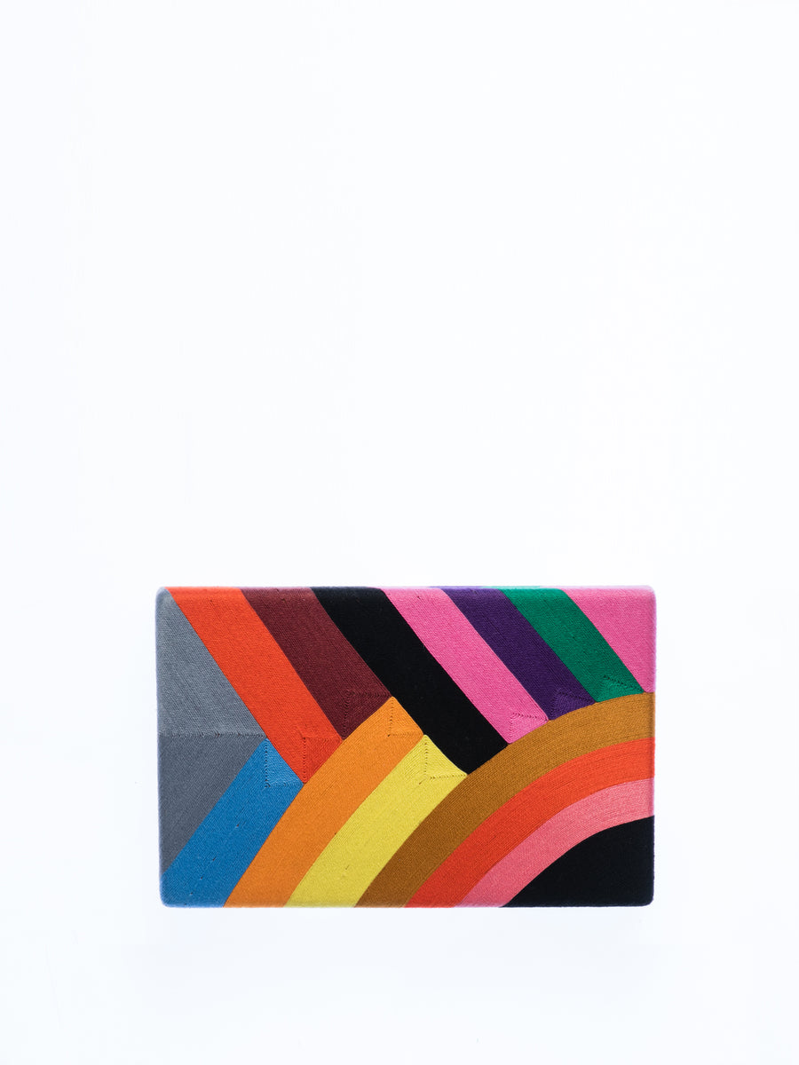 Releve Fashion Beatriz Rainbow Marge Clutch Bag Ethical Designers Sustainable Fashion Brands Artisanal Handmade Accessories Purchase with Purpose Shop for Good