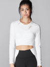 Releve Fashion Michi White Glow Wrap Top Sustainable Fashion Athleisure Activewear Brand Positive Luxury Brands to Trust Purchase with Purpose Shop for Good