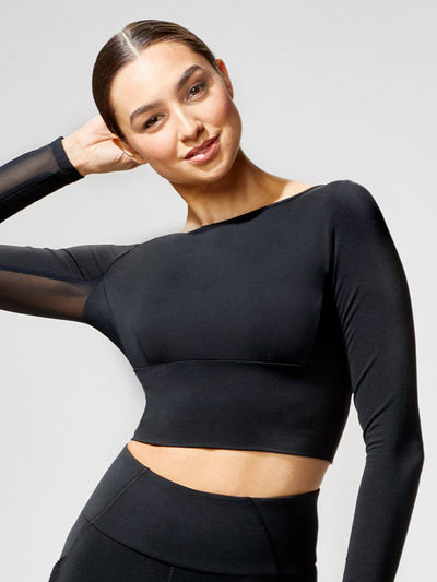 Releve Fashion Michi Rally Crop Top Black Sustainable Fashion Athleisure Activewear Brand Positive Luxury Brands to Trust Purchase with Purpose Shop for Good