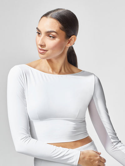 Releve Fashion Michi White Rally Crop Top Ethical Designers Sustainable Fashion Athleisure Activewear Brand Positive Luxury Brands to Trust Purchase with Purpose Shop for Good