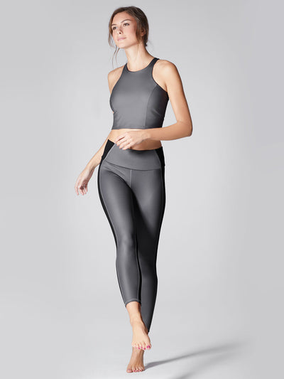 Releve Fashion Michi Gunmetal Vibe Crop Top Ethical Designers Sustainable Fashion Athleisure Activewear Brand Positive Luxury Brands to Trust Purchase with Purpose Shop for Good