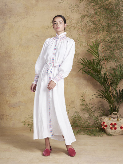 Releve Fashion Muzungu Sisters White Alice Dress Bamboo Fables Ethical Designers Sustainable Fashion Brand Handmade Artisanal Positive Fashion Conscious Luxury Purchase with Purpose Shop for Good
