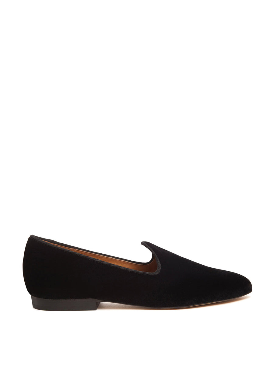 Velvet Venetian Slipper, Black
