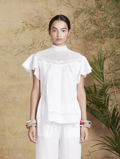 Releve Fashion Muzungu Sisters White Charlotte Blouse Fables Ethical Designers Sustainable Fashion Brand Handmade Artisanal Positive Fashion Conscious Luxury Purchase with Purpose Shop for Good