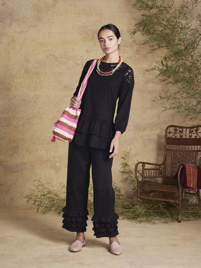 Releve Fashion Muzungu Sisters Black Dana Blouse Blouse Fables Ethical Designers Sustainable Fashion Brand Handmade Artisanal Positive Fashion Conscious Luxury Purchase with Purpose Shop for Good