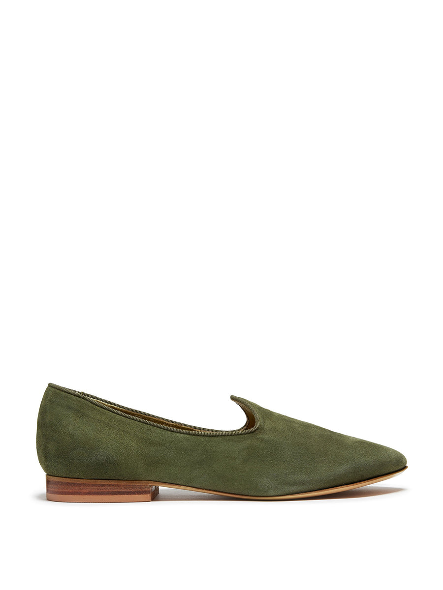 Suede Venetian Slipper, Earth Green