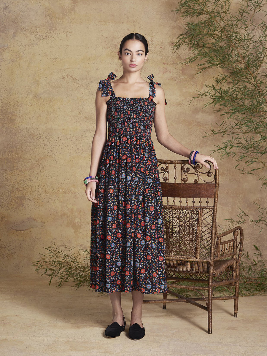 May Silk Dress, Halcyon Print