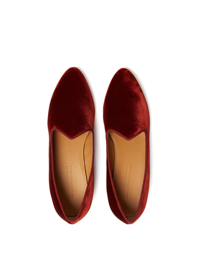 Releve Fashion Muzungu Sisters Rust Velvet Venetian Slipper Ethical Designers Sustainable Fashion Brand Handmade Artisanal Positive Fashion Conscious Luxury Purchase with Purpose Shop for Good