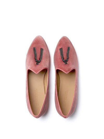 Releve Fashion Muzungu Sisters Blush Pink Siren Hotel Velvet Tassel Slipper Ethical Designers Sustainable Fashion Brand Handmade Artisanal Positive Fashion Conscious Luxury Purchase with Purpose Shop for Good