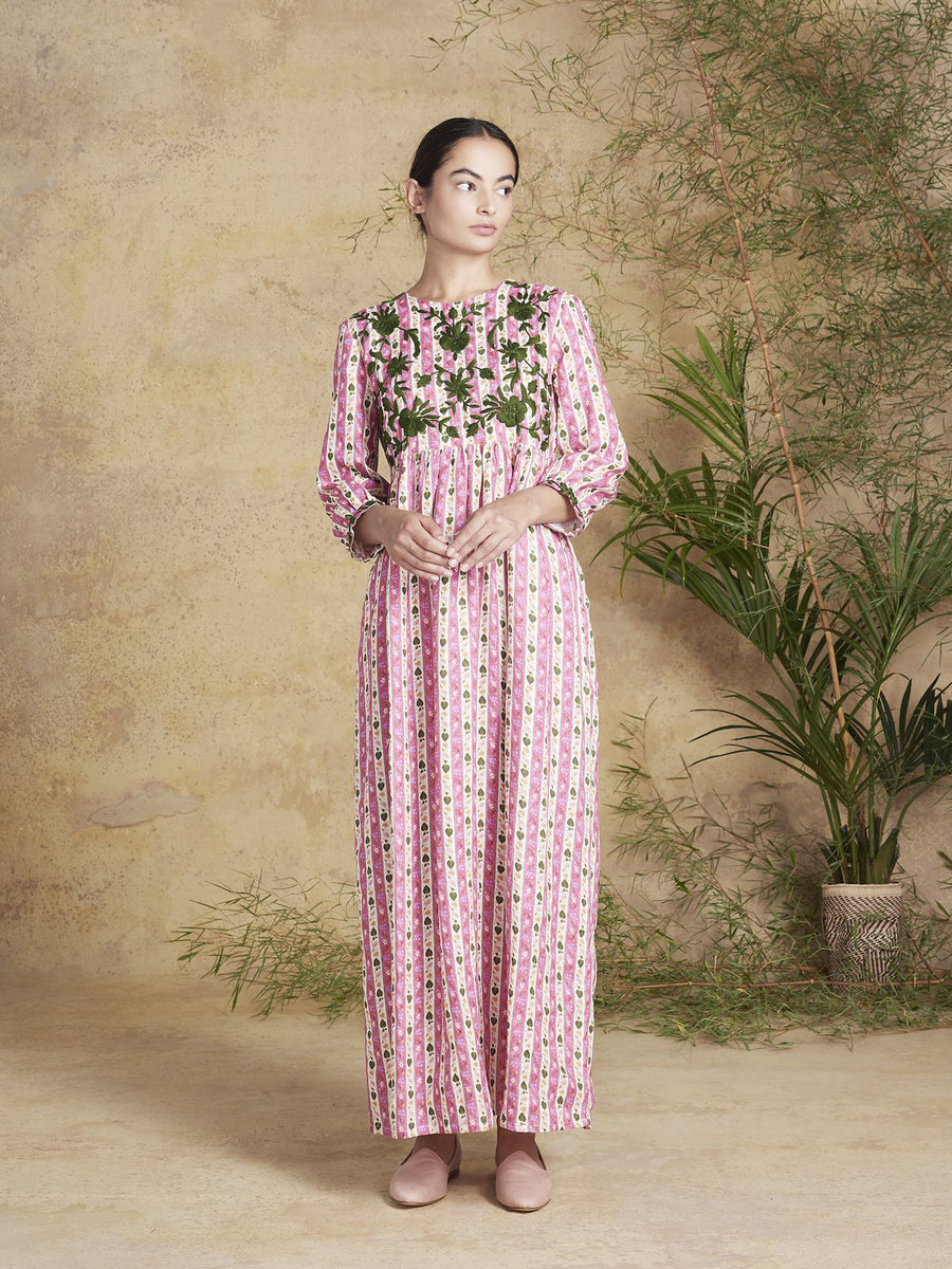 Touba Linen Dress, Bamboo Print
