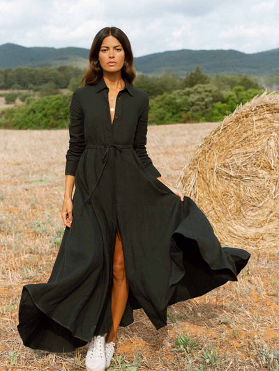 Releve Fashion Oramai London Black Amalfi Long Linen Dress Ethical Designers Sustainable Fashion Brands Eco-Age Brandmark Purchase with Purpose Shop for Good
